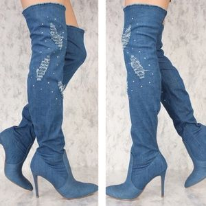 Shoes - Thigh High denim boots